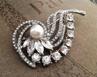 Wedding Brooch Rhinestone Brooch Bridal Brooch Pearl Brooch Crystal Brooch
