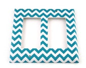 Double Rocker Light Switch Cover Wall Decor Switchplate Switch Plate in Turquoise Chevron  (229DR)