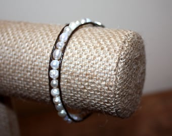 FRESH WATER PEARL Leather Wrap Bracelet - Brown Leather Cord & Silver Button - Darling Gift!