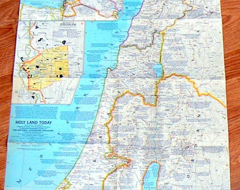 1963 Vintage Map of The Holy Land Today