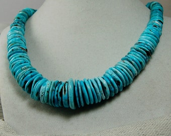 Nacozari Turquoise Graduated Necklace Tiffany Blue Necklace Sterling Silver