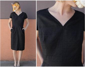 Elegant Vintage LBD Black 50's 60's Textured Silk V Neck Dress from Bullock's Westwood | Small/Medium