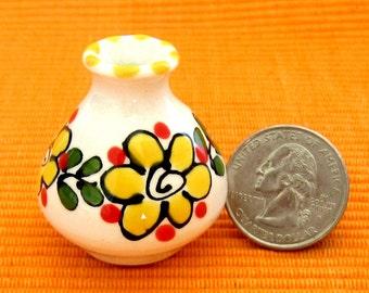 "Miniature Ceramic ""Potzie"" Yellow Vase"