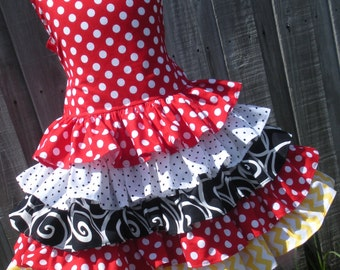 Made to Order Custom Boutique Minnie Dot Ruffle Mickey Dress Mouse Cruise Disney  Girl  2 3 4 5 6 7 8