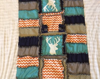 Car Seat Canopy Woodand Baby Quilt With Deer Silhouette in Teal, Gray, and Orange for Baby Boy - Deer Baby Boy Car Seat Tent -Car Seat Cover