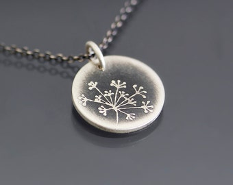 Tiny Queen Anne's Lace Necklace - Etched Sterling Silver Pendant