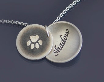 Silver Paw Print Personalized Necklace -MADE TO ORDER