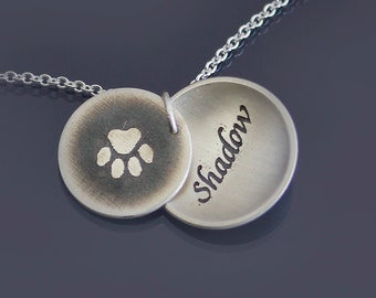Personalized Paw Print Necklace, sterling silver handwritten necklace, memorial, pet name necklace, calligraphy pendant, handwriting jewelry