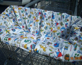 Shopping Cart cover  for boy or girl...ABC Animal Names Mini Mooo