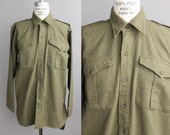 1940s military shirt | vintage utility long sleeve shirt | army shirt from Belfast