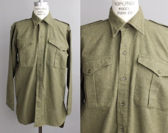 Vintage 1940s Irish Military Shirt | Utility Long Sleeve Shirt | Army Shirt From Belfast