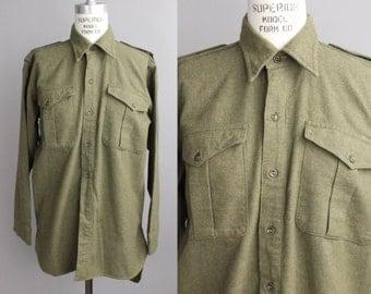 Vintage 1940s Irish Military Shirt | Utility Long Sleeve Flannel Shirt | Army Field Shirt From Belfast