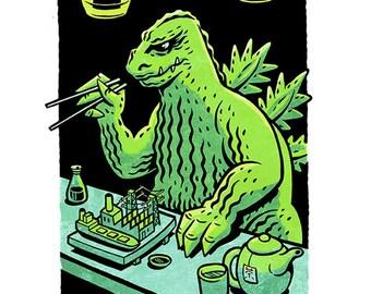 """Mini Poster-Godzilla """"Krunchy Roll"""""""