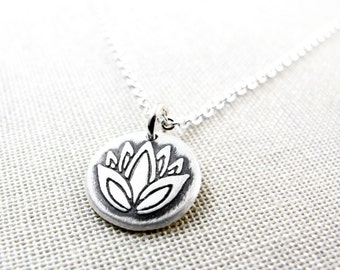 Tiny Lotus flower necklace, Lotus necklace, Lotus flower jewelry, yoga necklace, Lotus jewelry, silver lotus flower necklace