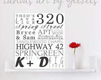 """Personalized Typography """"ELITE"""" Series Word Art Canvas art personalized Words and phrases wall art 18x24"""