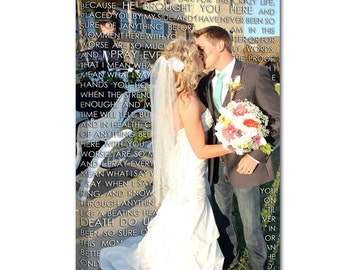 Wedding Gift First Dance Lyrics/ Custom Canvas / Your Wedding Photo with your Lyrics/ Vows/ Love Story/ Best Friend Gift Idea