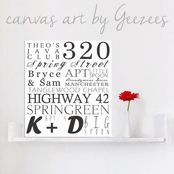 "Personalized Typography ""ELITE"" Series Word Art Canvas art personalized Words and phrases wall art 18x24"