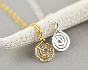 Gold Swirl Necklace, Silver Metal Necklace, Bridesmaid Gift