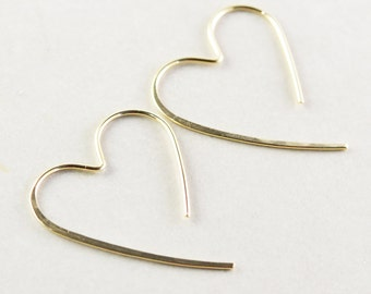 Gold Heart Hoops, Large Heart Earrings, Bridesmaid Gift, Valentine