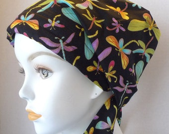 Colorful Dragonfly Cancer Hat Chemo Scarf Cap Head Wrap Alopecia Turban Bad Hair Day