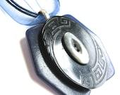 Vintage Button Necklace Navy Blue