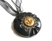 Vintage Button Anchor Pendant Necklace Nautical Black and Gold