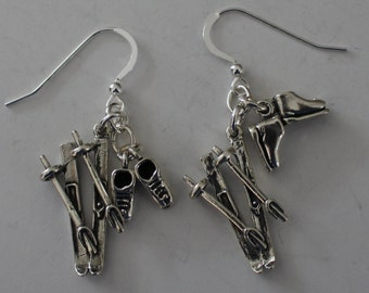 Sterling Silver 3D SNOW SKIS & BOOTS Earrings-  Skiing, Wintersports