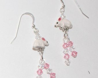 MOUSE Earrings - Sterling Silver French Earwires - Pet