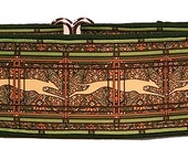 New Jane Walker Paisley Green and Cream  Martingale Collar-