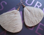Hair on Leather Rounded Triangle Earrings  - Off White with Light beige accents. Copper earwires
