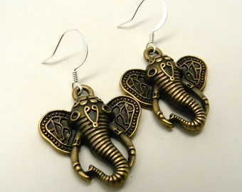 Steampunk earrings. elephant earrings.