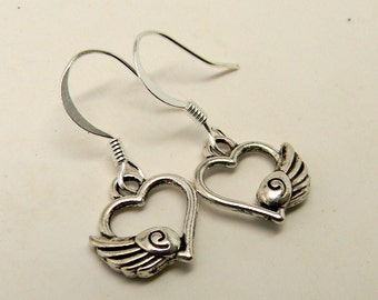 Steampunk earrings. Wing heart earrings.