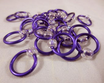 Large Purple and Crystal Snag Free Beaded Stitch Markers