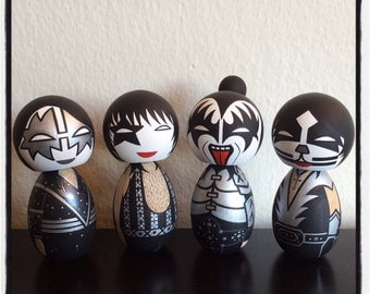Custom KISS kokeshi dolls. Full set of four