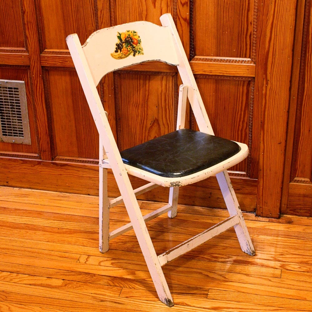 Vintage wood folding chair white Acme Chair co by OldCottonwood