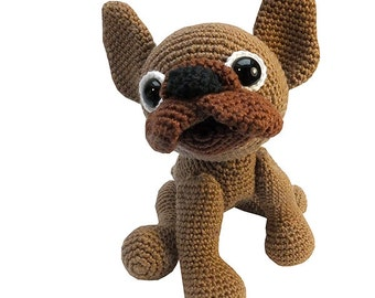 amigurumi dog french bulldog, PDF crochet pattern animal tutorial file boston terrier ebook figure by Katja Heinlein pet