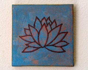 lotus mixed media painting art by tremundo
