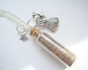 Cinderella Princess Necklace Silver Glitter Fairy Godmother Pumpkin Carriage