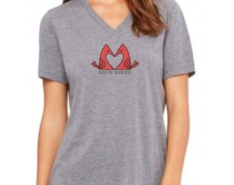Paul Friedrich's LOVE BIRDS Ladies T-Shirt V-neck Heather Grey