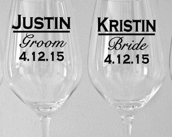 SINGLE DIY Personalized Bridal Party Wine Glass Decals, Wedding Party Decals, Glasses NOT Included