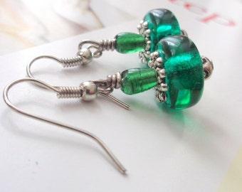 Green Earrings,Teal Earrings  Disc Earrings
