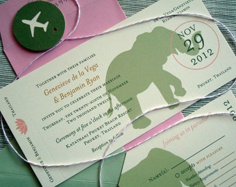 Destination Wedding Invitations with Asian Elephants on Retro Airplane Ticket Boarding Pass and Luggage Tag RSVP - DESIGN FEE