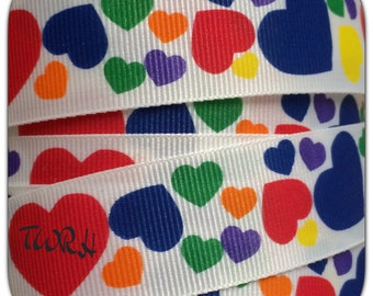 "Primary colored hearts on white 7/8"" grosgrain ribbon 5 yard TWRH"