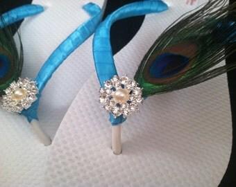 Gabriella Bridal Flip Flops, Peacock Custom Flip Flops, Dancing Shoes, Peacock Bridal Sandals, Wedding Flip Flops, Beach Wedding Shoes