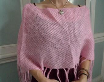 vintage poncho cozy sweater style fashion pink fringe