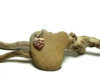 Genuine Drilled Beach Stone Jewelry Making Bead Pendant Pebble Rocks Shore River Rock Upcycled Natural Stone ABSTRACT HEART