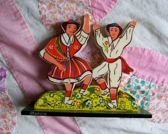 vintage plastic folk art napkin holder