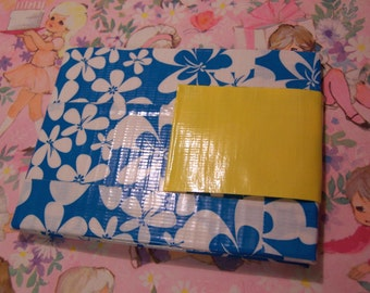 blue and yellow duct tape wallet