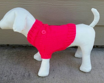 Hand Knit Small Dog or Puppy Sweater - Neon Pink