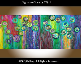 "40"" oil Painting Abstract Painting wall decor wall art Impasto Canvas art Wall Hangings ""Colour Therapy"" by QIQIGallery"
